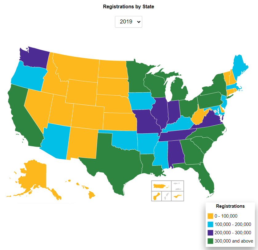 Boat Registrations by state 2019 data from Nasbla showing the top and bottom colored in yellow and greem.